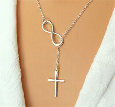 Fashion Casual Personality Infinity Cross Lariat Pendant Silver Plated Necklace