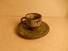 Vintage Frankoma Pottery Prairie Green Wagon Wheel Cup & Saucer