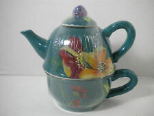 TRACY PORTER Floral Blossom Tea For One Teal Tea Pot Teapot New Old Stock Sealed