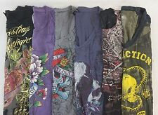 Affliction Ed Hardy Lot of 6 Juniors Graphic T-Shirts Size Small S [DC14017]