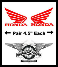 "#281 (2) 4.5""  HONDA wing motorcycle tank decal sticker GLOSS RED Vinyl"