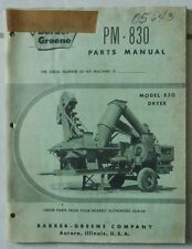 BARBER GREENE MODEL PM-830 DRYER PARTS MANUAL