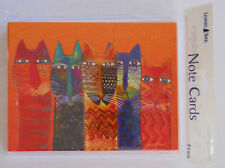 8 Leanin Tree Note Cards, 5 VERY BRIGHT COLORFUL CATS IN A ROW Laurel Burch, USA