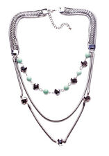 Zuzzana's 3 layered Gun metal chains & turquoise balls statement necklace (NS5)