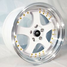 MST MT07 17x9 5x114.3 et20 White w/Machined Lip Gold Rivets Wheels (Set of 4)