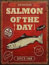Blechschild - Salmon of the day  Nostalgieschild-Deko- 25 cm x 33 cm