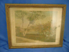"Antique Wallace Nutting print Camden Harbor framed 8.5"" x 11.5"" signed art"