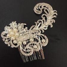 Vintage Style Silver Crystal Diamante Pearl Hair Comb Fascinator Wedding Bridal