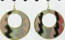 "Colorful sparkle tribal fabric 2.25"" door knocker lite hoop earrings gold A"