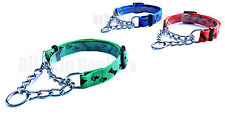 DOG ADJUSTABLE HALF SEMI CHOKE CHOKER CHECK CHAIN NYLON TRAINING TRAINER COLLAR