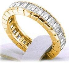 4.4 ct Emerald DIAMOND ETERNITY RING CHANNEL 14K YELLOW GOLD BAND 22 x .20 ct