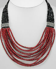 """20""""-23"""" Coral, Crystal Glass & Marcasite Necklace Statement Piece Silver Clasp"""