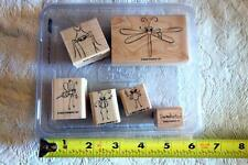 "STAMPIN' UP! ""Cute As a Bug"" ladybug dragonfly Wood Mounted rubber stamp 6 NEW"