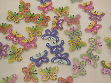 6pcs Butterfly Wood sew on Children clothes buttons sewing DIY 2.3cm x 1.5cm