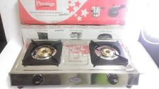 PRESTIGE STAINLESS STEEL 2 BRASS BURNER GAS STOVE COOKTOP HOB LPG PROPANE SLEEK