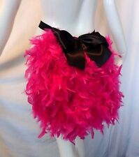 FEATHER BUSTLE WITH BOW. BURLESQUE, SHOW GIRL. CERISE PINK.
