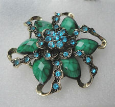 ZPs2 Vintage Victorian Style Brooch Green Leaf Beautiful Floral Flower Crystals