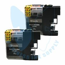 2 BK LC203XL LC201 compatible Ink Cartridges for Brother printers with NEW CHIP