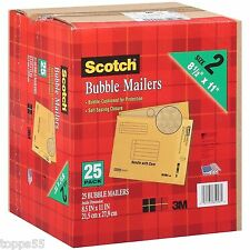 """3M Scotch Bubble Mailers size 2 (8.5"""" x 11"""") - 25 Pack Envelope Mailer Free Ship"""