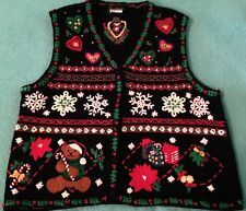 Designers Originals Studios Ugly Cute Tacky Christmas Sweater Vest L Teddy Bears