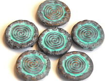 6 - 2 HOLE SLIDER BEADS AGED COPPER & PAINTED PATINA SOUTHWESTERN SUN DESIGN