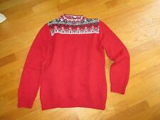 EUC Ladies Coldwater Creek Red Gray Nordic Beaded Sweater Size Med 10-12