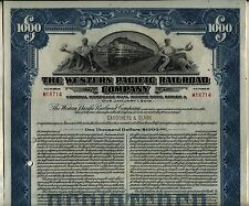 $1000 Western Pacific Railroad Company Bond Stock Certificate