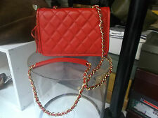 BORSA VERA PELLE MODELLO CHANEL CON TRACOLLA - BAG GENUINE LEATHER RED