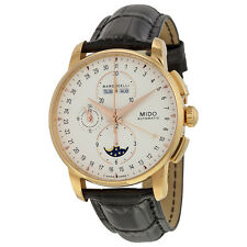 Mido Baroncelli Moonphase Chronograph Automatic Silver Dial Black Leather Mens