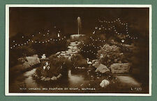 1956 RP POSTCARD ROCK GARDENS & FOUNTAIN BY NIGHT SOUTHSEA
