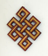 WOODENHAND CARVED TIBETAN BUDDHIST AUSPICIOUS SYMBOIL ENDLESS KNOT BUDDHISM