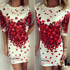 Sexy Womens Floral Cartoon Party Evening Clubwear Slim Bodycon Short Mini Dress