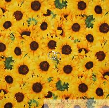 BonEful FABRIC Cotton Quilt VTG Yellow Sunflower Green Leaf Garden Kitchen SCRAP