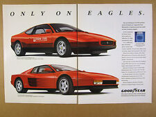 1990 Ferrari PPG Pace Car & Testarossa photo Goodyear Eagle Tires print Ad