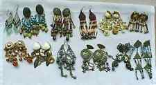 VINTAGE ESTATE JEWELRY BEADS - 12 PAIR LARGE DANGLE EARRINGS - MAKE YOUR OWN