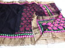 Beautiful black Kota silk mirror work saree with blouse piece, premium quality