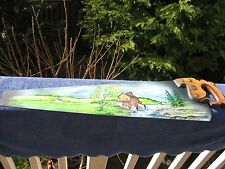 """ANTIQUE One Man hand saw 30"""" Long with AN OIL PAINTED SCENE on Blade E.Hurst"""