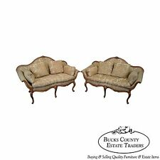 Southwood Pair of French Louis XV Style Serpentine Loveseats