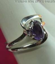 VINTAGE AMETHYST Sterling Silver 0.925 Estate Solitaire Cocktail RING size 6