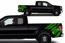 Custom Vinyl Graphics Decal Rear Wrap Kit for 2015-2017 Ford F-150 RIPPED Green