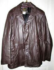 Vtg 70s REED Mens Brown Heavy Leather Fight Club Pimp Trench Coat Jacket 46