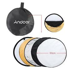 "24""inch 60CM 5in1 Multicolor Collapsible Studio Photo Light Reflector Disc Q5MB"