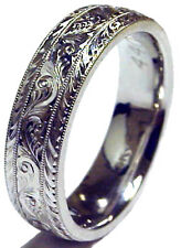 NEW! LADY'S 6MM WIDE HAND ENGRAVED 14K WHITE GOLD WEDDING BAND RING COMFORT FIT