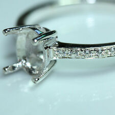 5x7 Oval semi-mount  setting CZ ring sterling silver 925 #056