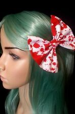 "4"" Zombie 'BLOOD TYPE' spatter white red hair bow clip. Horror. Halloween. Goth"