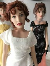 "FRANKLIN MINT TITANIC 16"" Vinyl ROSE DOLL in HEAVEN Gown, Shoes+Stand,NO Jewelry"