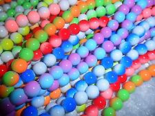 100x high quality 8mm two-color glass round beads, mixed color