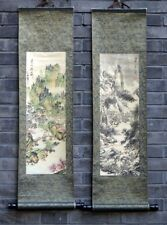 "Chinese 2 print painting wall scroll landscape 9x36"" spring winter gongbi art"