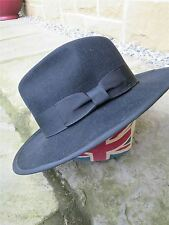 1940s Forties Style Black 100% Wool Fedora Trilby Forties Hat sz XL