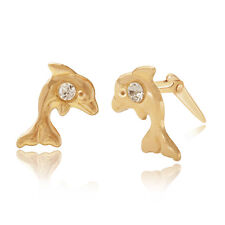 9ct yellow gold dolphin with crystal Andralok stud earrings / Giftbox